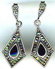 925 Sterling Silver Black Onyx & Marcasite Long Drop Earrings Length 1.3/8""