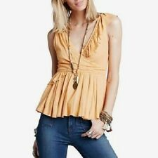 NEW:  Free People Float Away Ruffled Tank Top Mango Small NWT