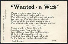 C1910 Comic Card 'Wanted - a Wife' Sweet tempered, from vanity free'