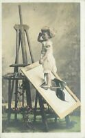 Child crying upset Artist Broken Canvas Postcard RPPC real photo 21-872