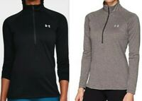 Under Armour HeatGear UA Tech 1/2 Zip Womens LS Top -1320126 Black or Grey S-XXL