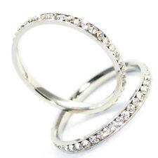 Damenring Daumenring Edelstahl Silber Strass Design Ring Strasssteine