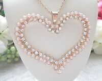 BETSEY JOHNSON BEAUTIFUL LARGE CRYSTAL PEARL HEART  PENDANT CHAIN NECKLACE