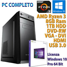 PC COMPUTER DESKTOP WINDOWS 10 ASSEMBLATO AMD QUAD CORE RYZEN 3 8GB DDR4 HDD 1TB