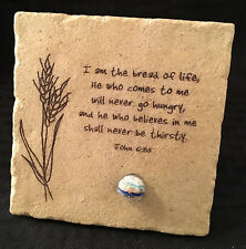 """REDUCED PRICE: John 6:35 """"Bread of Life"""" FaithStones 4.5 x 4.5 Plaque with Stand"""