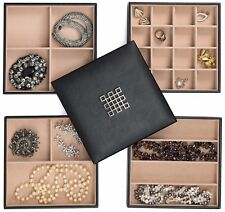 Glenor Co Jewelry Organizer Tray - 4 Stackable Trays & Lid with Mirror - 27 Slot