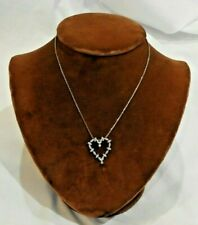 14K Yellow Gold Chain with Diamond Cluster Heart Pendant Necklace