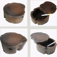 "4.3"" Wooden Round Brown Black Ash Holder Smoke Cigarette Ashtray Cigar Ash Tray"