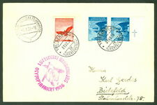 LIECHTENSTEIN, 1936, Olympic Zeppelin Flight of Hindenburg on card to Germany