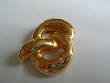Knot Pattern Scarf Ring In Gold Coloured Metal