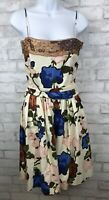 M Missoni Italy Cotton Floral Dress Spaghetti Strap Cream Tie Waist Summer Sz 6