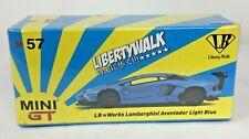 MINI GT #57 LB WORKS LAMBORGHINI AVENTADOR LIGHT BLUE - RECALLED RELEASE