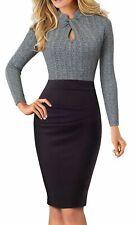 HomeYee Women's Long Sleeve Business Church Dress B430 Gray Size 8