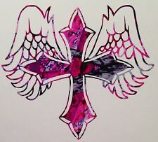 "Pink Camo Angel Cross Country Girl Vinyl Decal 5"" Wild Love Muddy Cowgirl Rodeo"