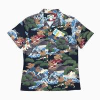 BOB DONG Kylin & Pine Tree Printed Men's Hawaiian Shirts Chinese Style Aloha