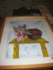 """Original ROBERT DOWD SIGNED Oil painting APPLE cut outs 17"""" X 21"""" ART 1990"""