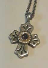 "James Avery Cabochon Lily Amethyst 925 14K Cross Pendant on 17"" JA Chain"