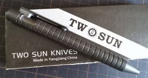 New TwoSun StoneWash Titanium Tactical Office Push Button Mechanism Pen TS-Pen30