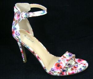 Xappeal Angelina Floral Stiletto Heels Open Toe Womens Size 9 M
