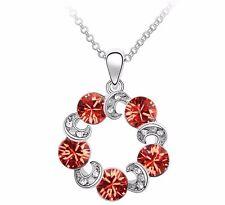 18K Gold GP SWAROVSKI Element Crystal Ball Layered Pendant Necklace Orange/White