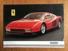 Ferrari 1985-87 UK Market Sales Brochure 328 GTB GTS Mondial 3.2 412 Testarossa