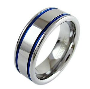 Polished Silver Tungsten Ring  with Dual Cobalt Blue Racing Stripes