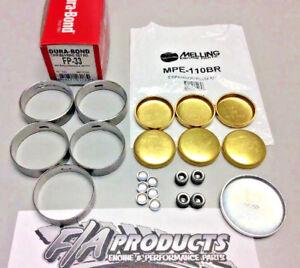 Ford FE 390 428 Dura-Bond FP33 HI PERF Cam Bearings+ Melling Brass Soft Plug Kit