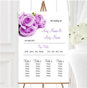 Beautiful Lilac Purple Rose Personalised Wedding Seating Table Plan