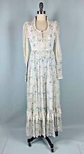 Vintage Dress Gunne Sax Size 3 Small Xs White Blue flower Wedding western lace