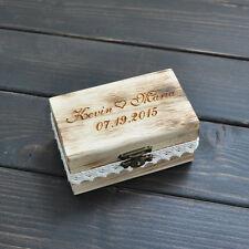 Personalized Gift Rustic Wedding Ring Box Custom Engrave Wood Ring Box