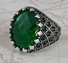 Türkei Ottomane Grün Emerald Edelstein  Solide 925 Sterling Silber Ring