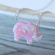 "Opal Elephant Necklace Pink 18"" inch Sterling Silver Chain Waterproof Elephant"