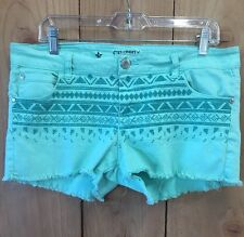 Junior Women's Celebrity Pink Jean Shorts Stretch SZ 13 Mint Green Embroidered