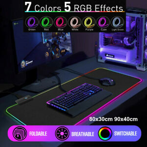 RGB LED Gaming Mouse Pad Desk Mat Extend Anti-slip Rubber Speed Mousepad