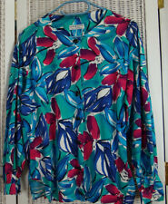 Vintage JAEGER Vibrant Floral Blouse M-L Cotton Collarless Shirt Top Lily Print