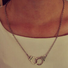Exquisite Handcuffs Best Friend Lovers Unique Design Steampunk Necklace Chain