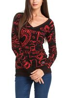 Desigual Women's Sweater Trendy Top Jumper Black Red Graffiti Emo SHIRT XL Super