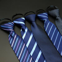 Men Formal 8cm Striped Zipper Pre-tied Neckties Solid Wedding Business Neck Ties