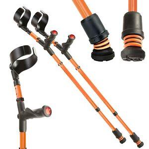 Flexyfoot Closed Cuff Crutches - Comfort Grip/Double Adjust - Anti Shock -Orange
