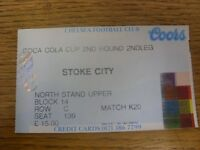 04/10/1995 Ticket: Chelsea v Stoke City [Football League Cup] (folded, slight cr