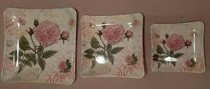 White Floral Decorative Serving Melamine Plates Set of 3