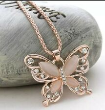 *UK Seller* Gold tone and opal butterfly long chain necklace