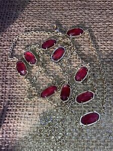 Kendra Scott Kellie Ruby Red Berry Station Yellow Gold Necklace