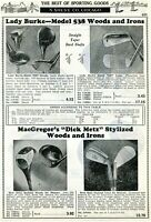 1940 Print Ad of Lady Burke 538 MacGregor Dick Metz Woods & Irons Golf Clubs