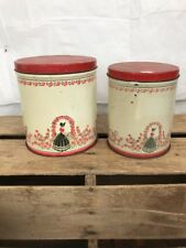 Vintage Set of 2 cream & Red Tin Canisters Sun bonnet  design 1940s