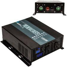 Power Inverters 1500W 12V/24V DC to 120V/220V AC Pure Sine Wave Inverter Convert