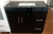 DESIGNER BLACK 900mm BATHROOM VANITY with BLACK STONE TOP and CERAMIC BASIN