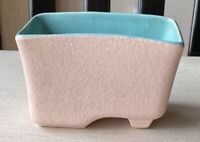 VINTAGE McCoy USA POTTERY Planter Pink Stucko Exterior Blue Gloss Signed