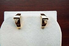 10 ct yellow gold trillion cut created diamond earrings