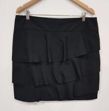 Suzanne Grae Plus Size 16 Womens Black Ruffle Straight Skirt Work Spring Summer